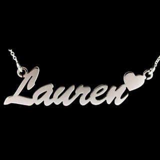 Sterling Silver Script Heart Name Necklace